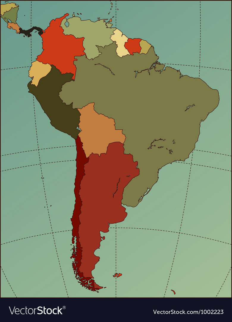 South america map vector | Price: 1 Credit (USD $1)