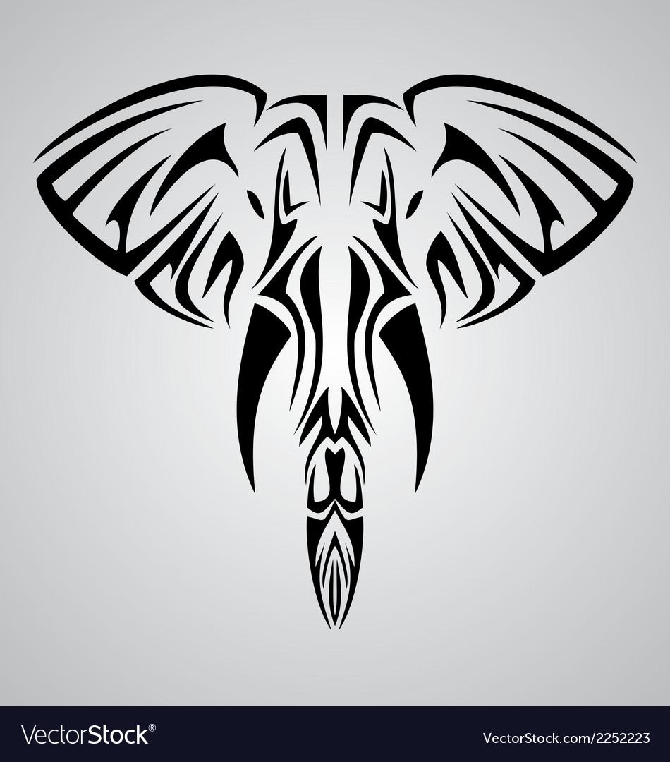 Tribal elephant head vector | Price: 1 Credit (USD $1)