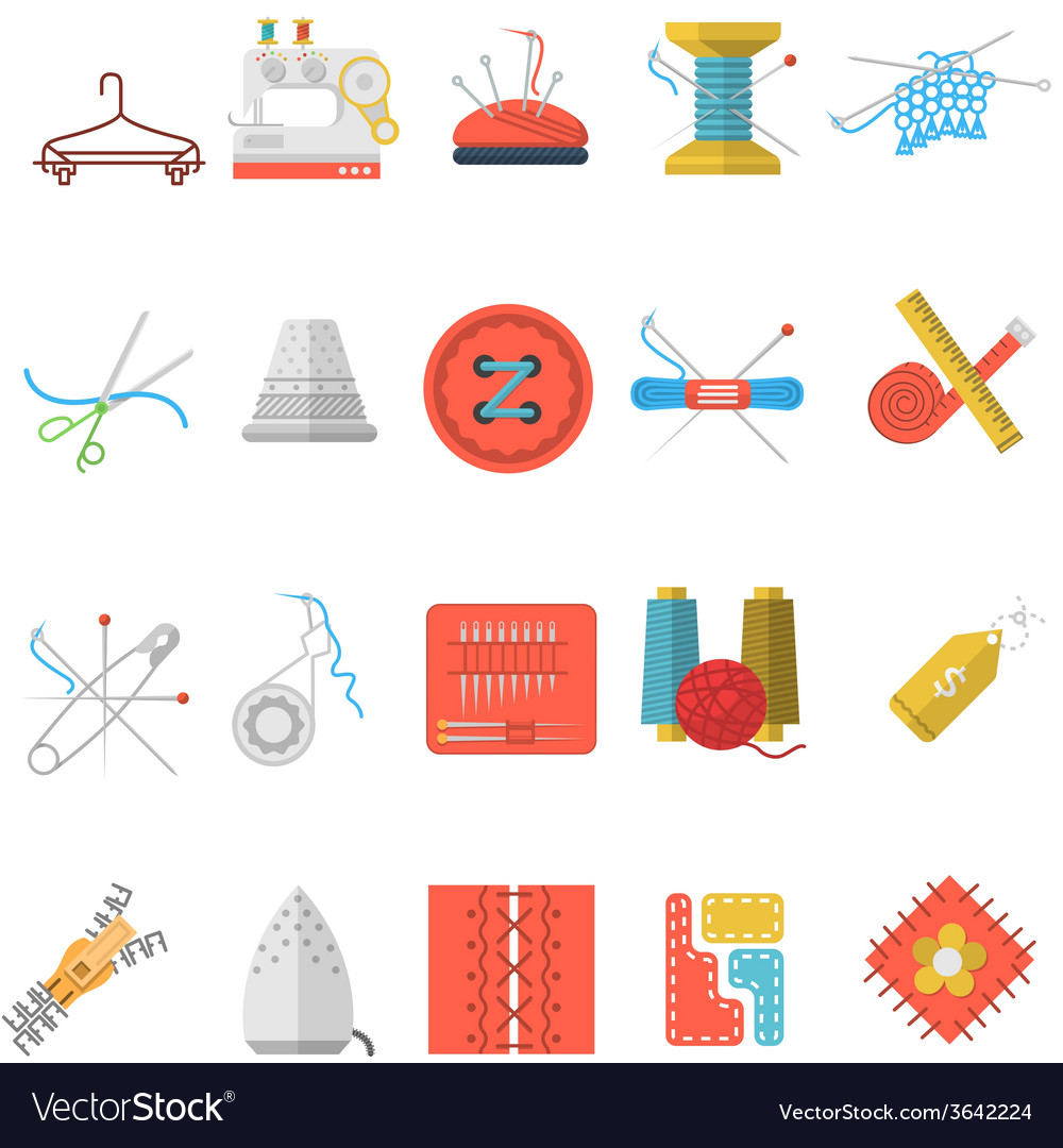 Flat icons collection of sewing items vector | Price: 1 Credit (USD $1)