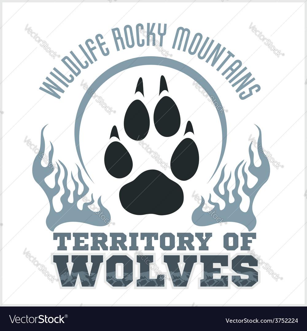 Footprint wolves emblem - dangerous territory vector | Price: 1 Credit (USD $1)