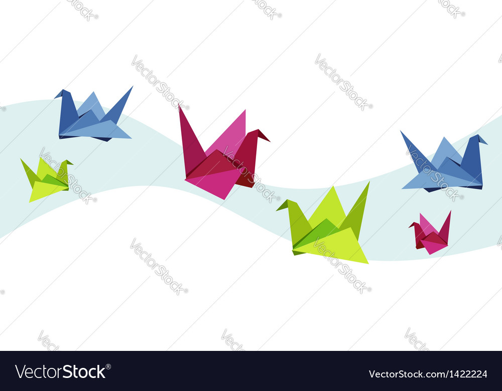 Group of various origami swan vector | Price: 1 Credit (USD $1)