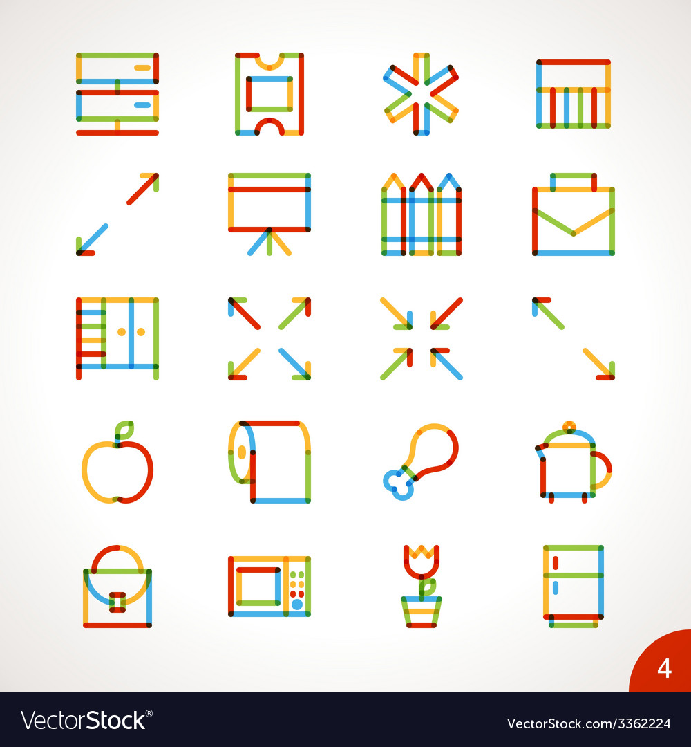 Highlighter line icons set 4 vector | Price: 1 Credit (USD $1)