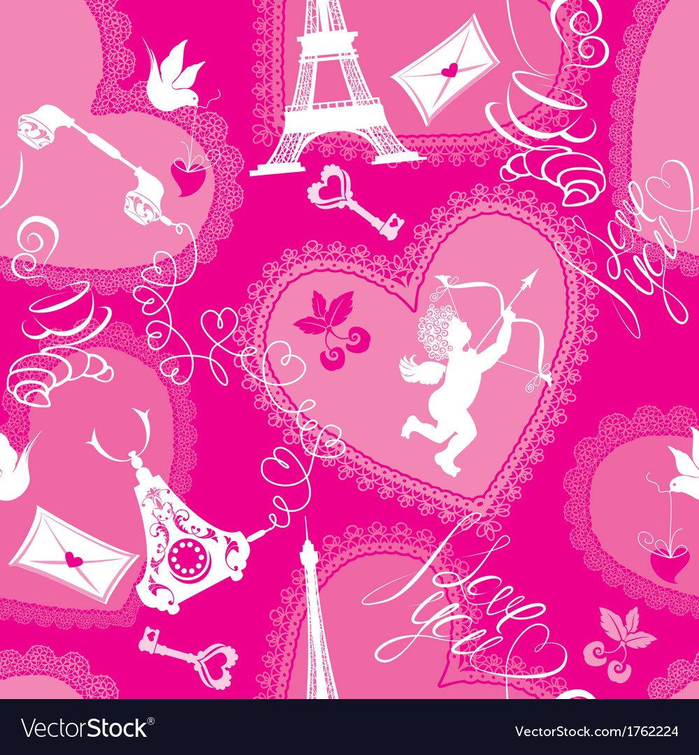 Love concept - seamless pattern with lace hearts vector | Price: 1 Credit (USD $1)