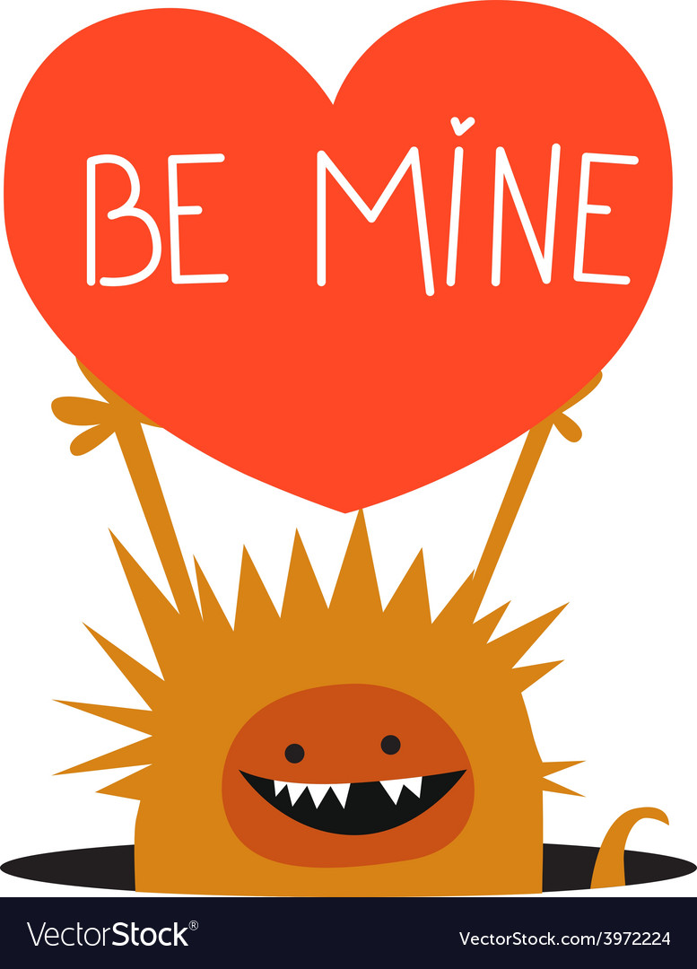 Orange monster with heart vector | Price: 1 Credit (USD $1)