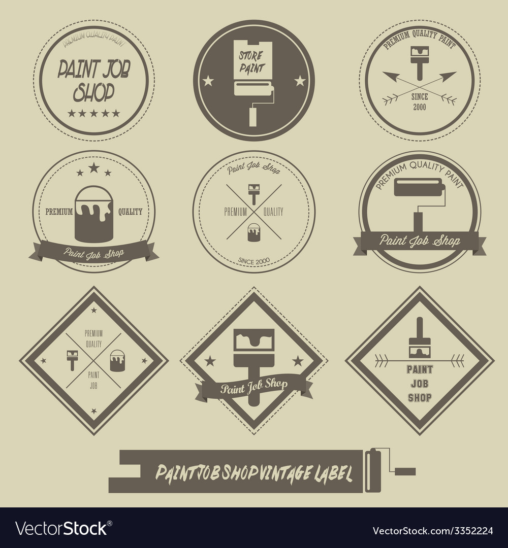 Paint job shop vintage label vector | Price: 1 Credit (USD $1)