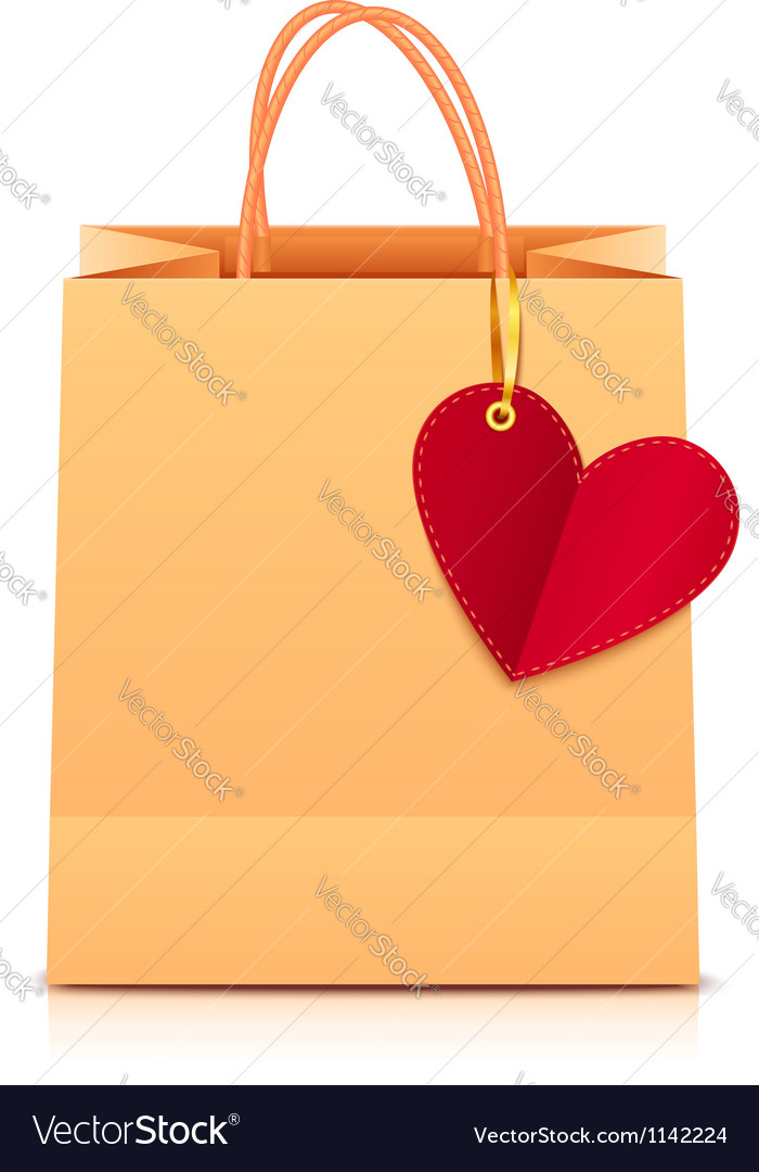 Paper shopping bag with heart label vector | Price: 1 Credit (USD $1)