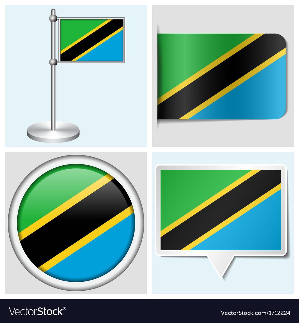 Tanzania flag - sticker button label flagstaff vector | Price: 1 Credit (USD $1)