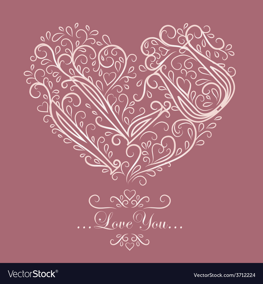 Vintage card with floral heart i love you vector   Price: 1 Credit (USD $1)