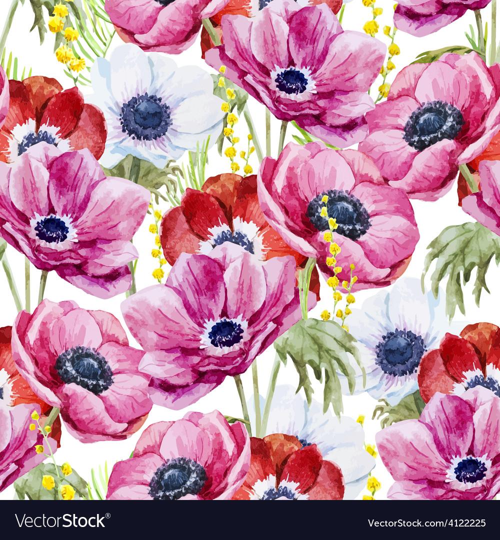 Anemones flowers pattern vector | Price: 1 Credit (USD $1)