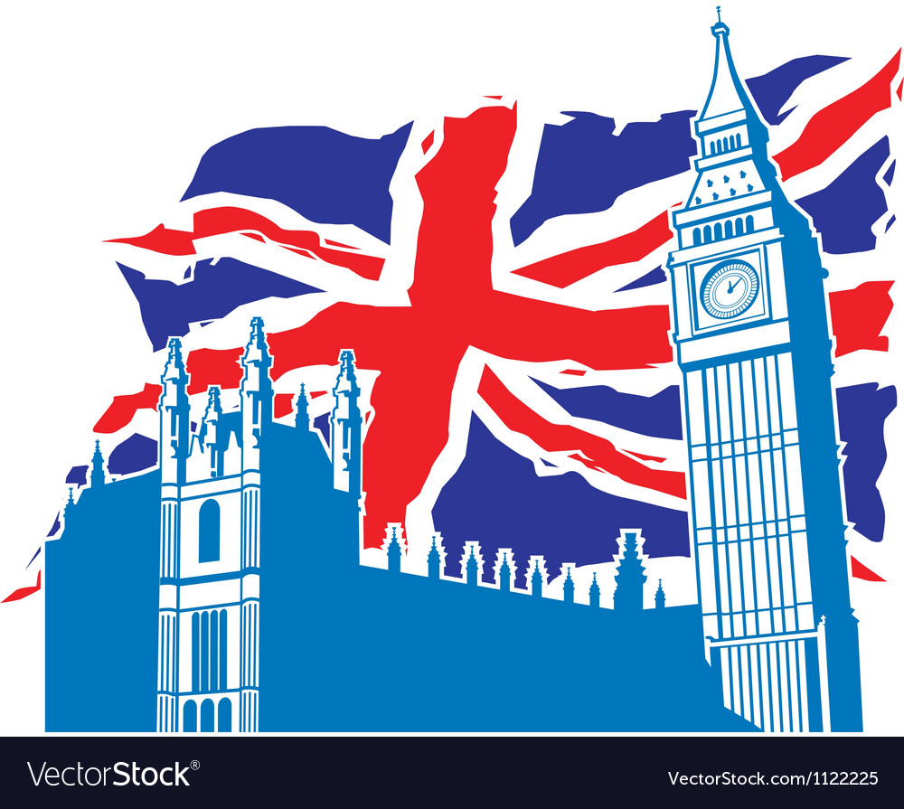 Big ben of london with union jack vector | Price: 1 Credit (USD $1)