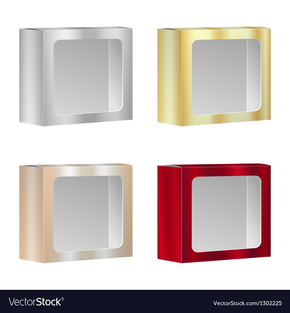 Blank product package box with window set vector   Price: 1 Credit (USD $1)