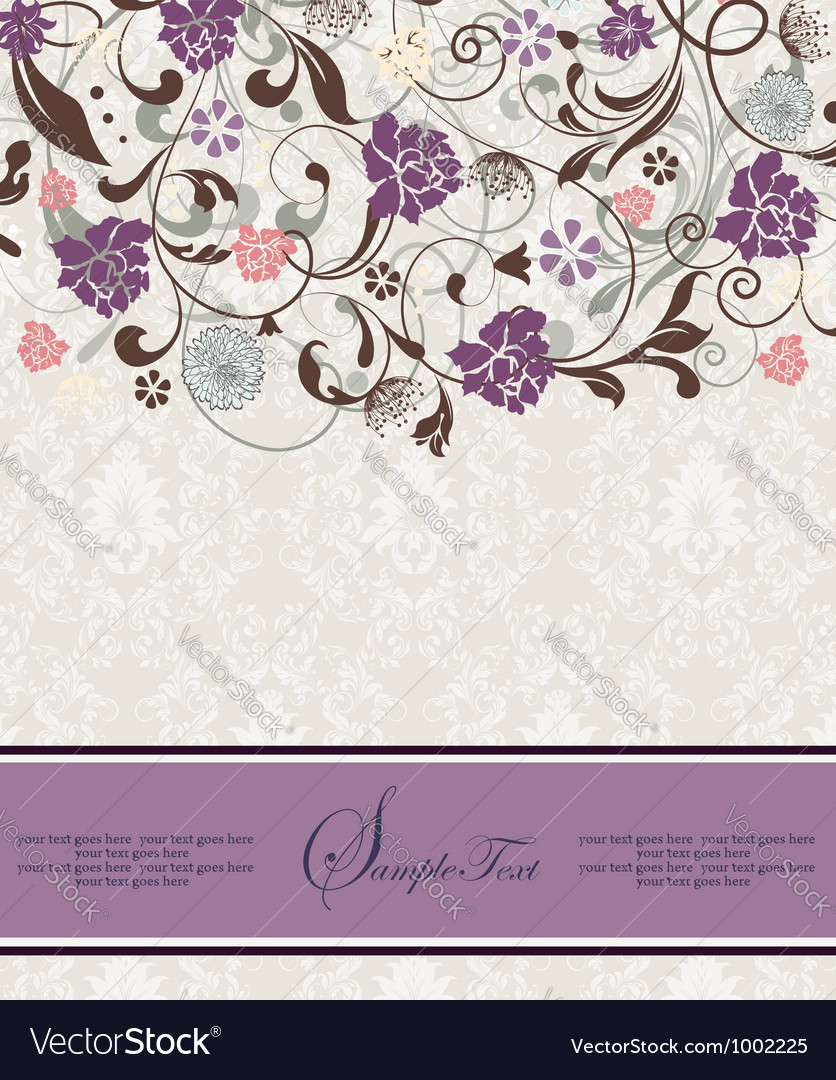 Bridal shower invitation with purple flowers vector | Price: 1 Credit (USD $1)