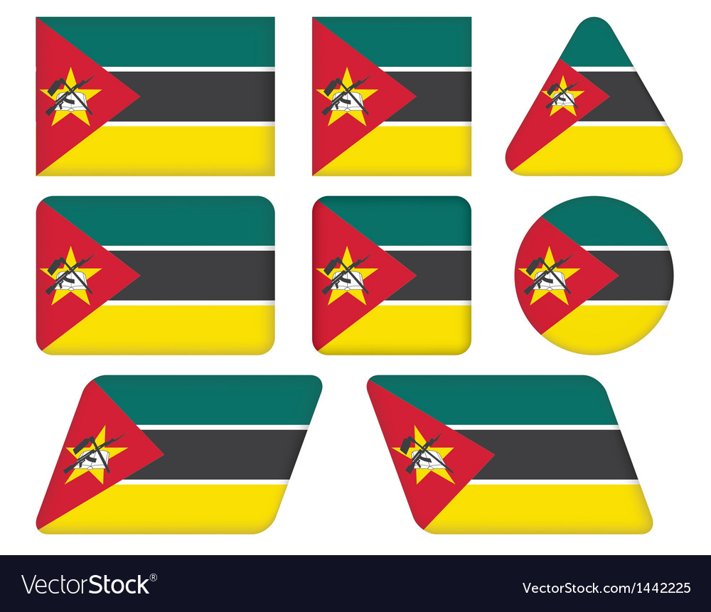 Buttons with flag of mozambique vector | Price: 1 Credit (USD $1)