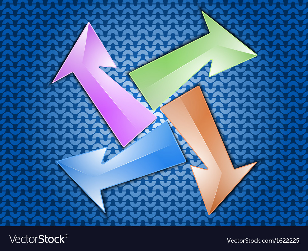 Colorful arrows on a blue pattern background vector | Price: 1 Credit (USD $1)