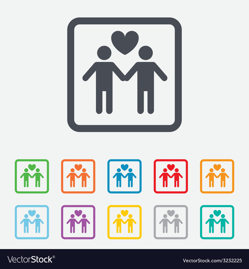Couple sign icon male love male gays vector | Price: 1 Credit (USD $1)
