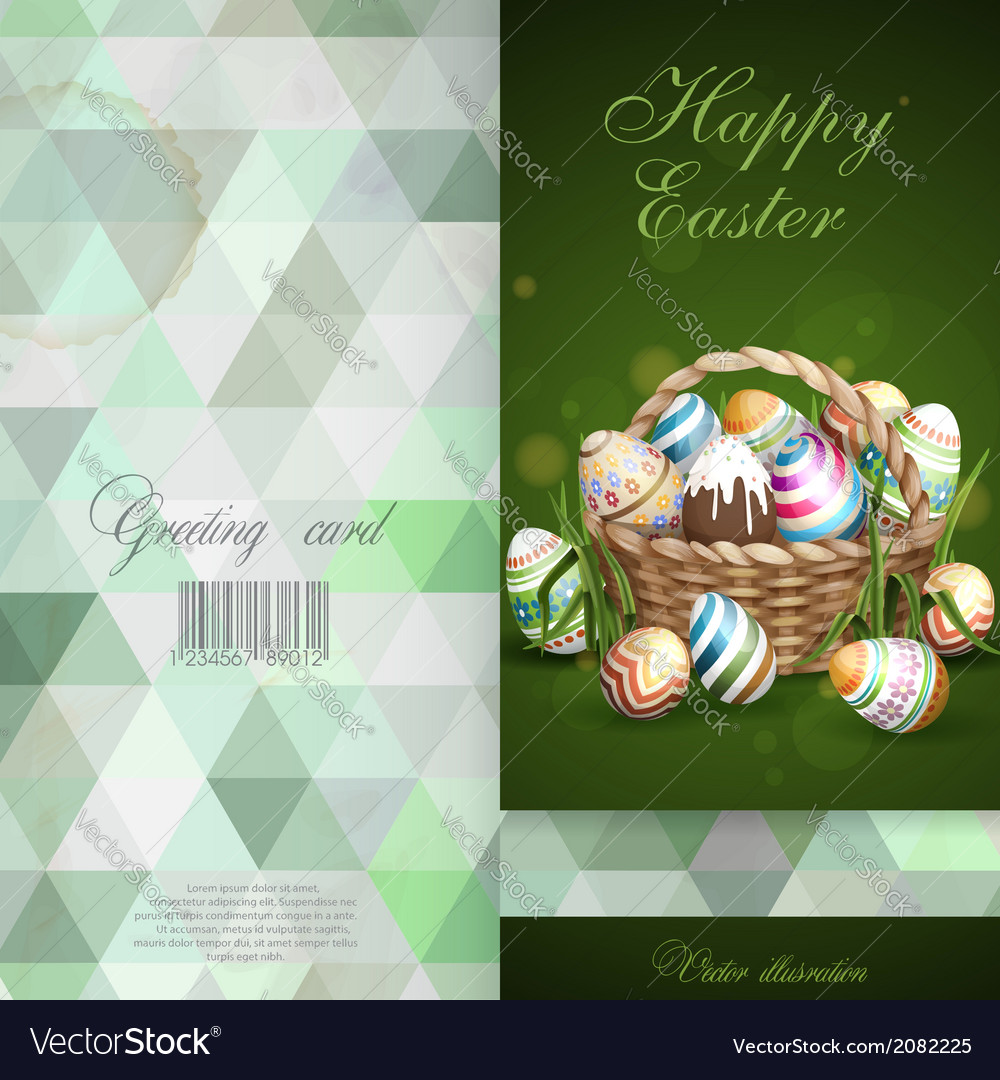 Easter background with a basket full easter eggs vector | Price: 3 Credit (USD $3)