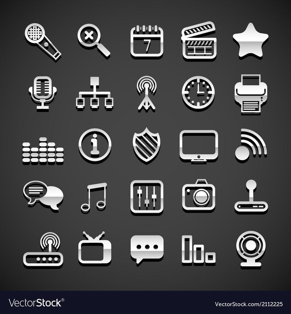 Flat metallic universal icons vector | Price: 1 Credit (USD $1)