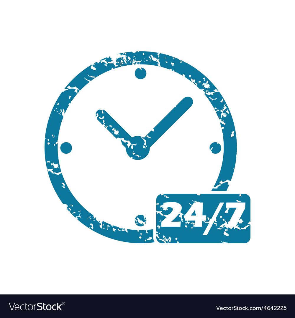 Grunge 24 per 7 icon vector   Price: 1 Credit (USD $1)