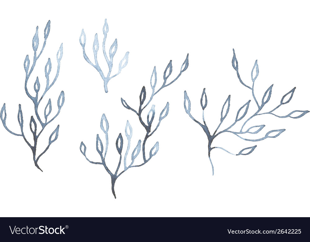 Indigo blue hand drawn branches vector | Price: 1 Credit (USD $1)