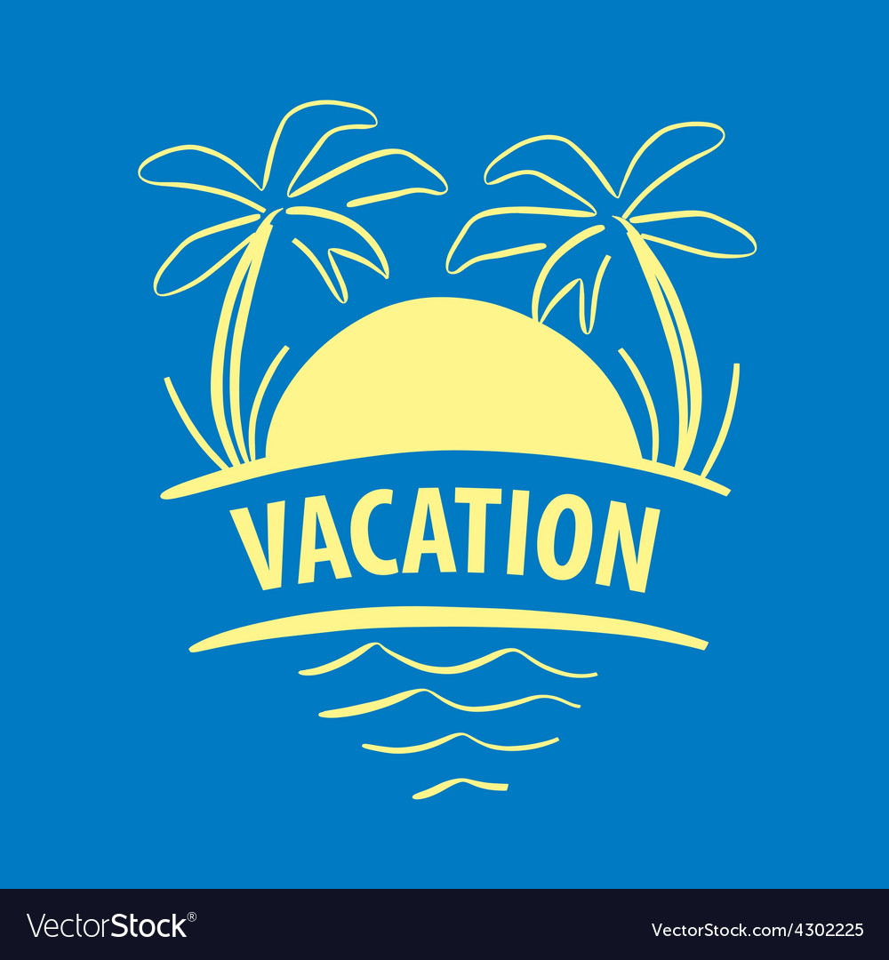 Logo sun palm trees sea vector | Price: 1 Credit (USD $1)