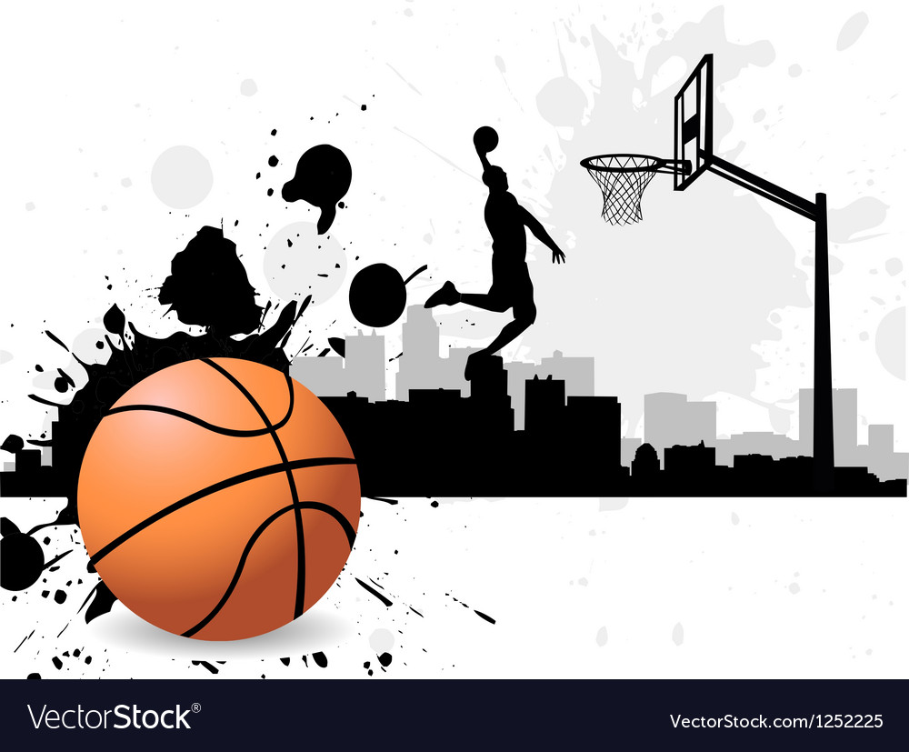 Man dunking basketball silhouette vector | Price: 1 Credit (USD $1)