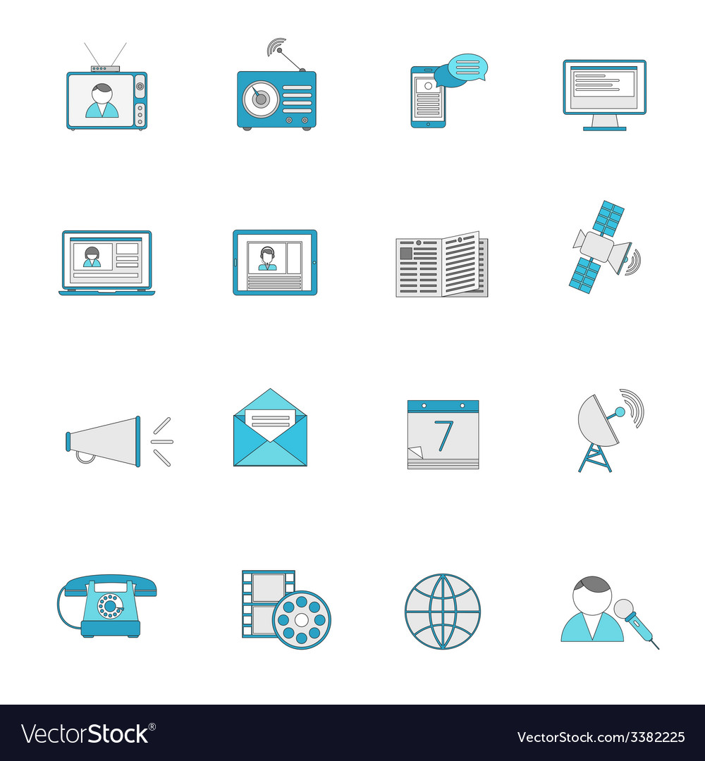 Media icons flat line set vector | Price: 1 Credit (USD $1)