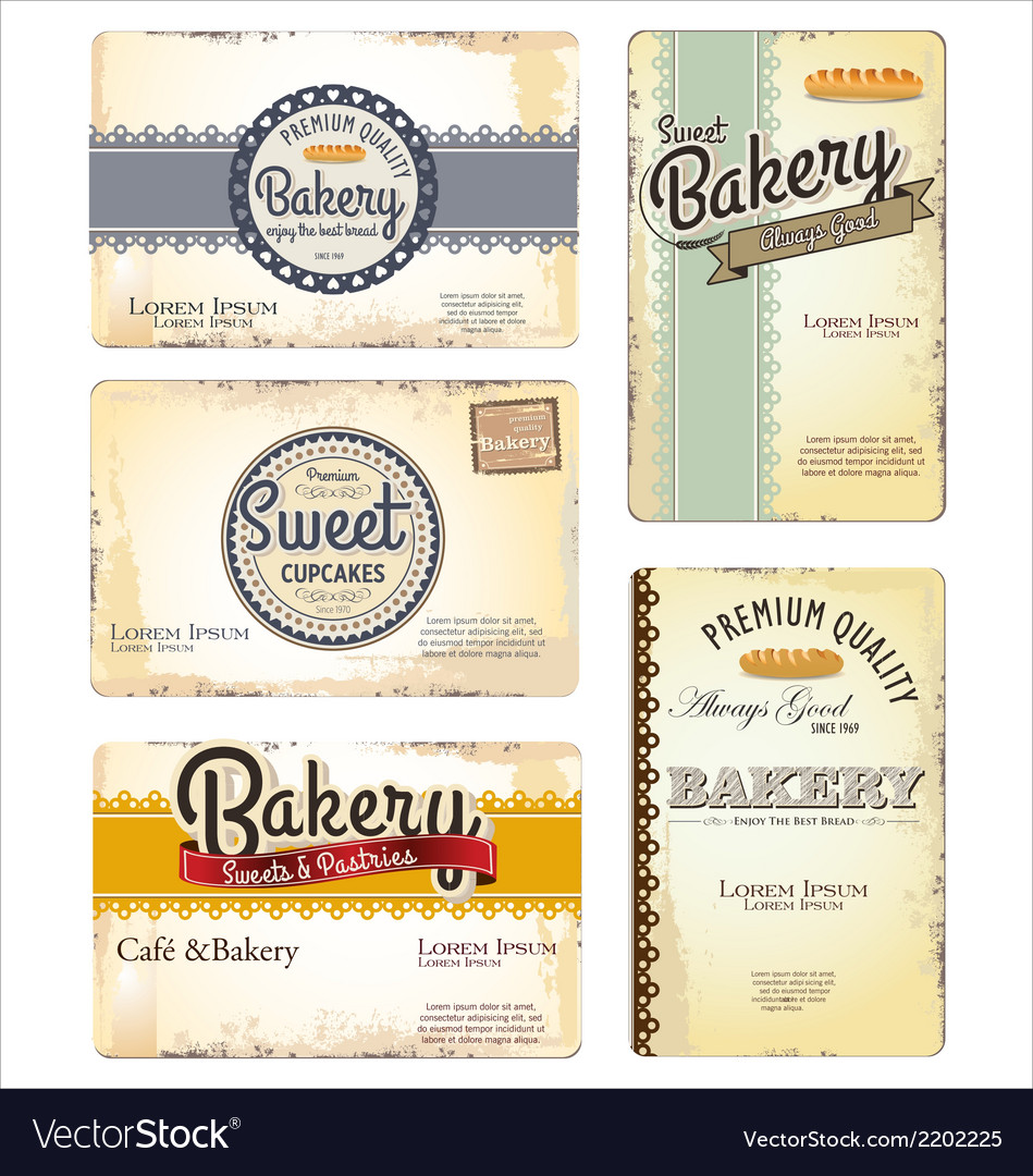 Set of 5 bakery retro business card templates vector | Price: 1 Credit (USD $1)