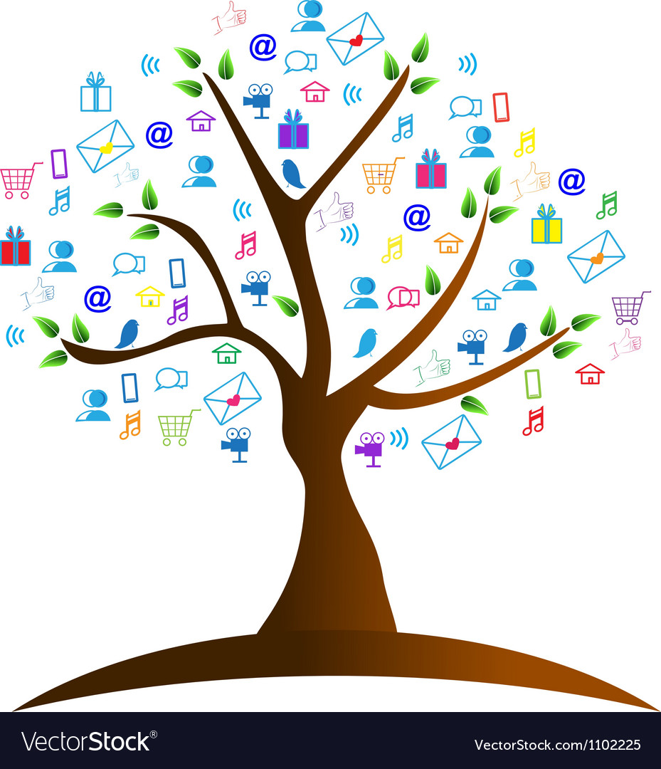 Tree and networking symbols vector | Price: 1 Credit (USD $1)
