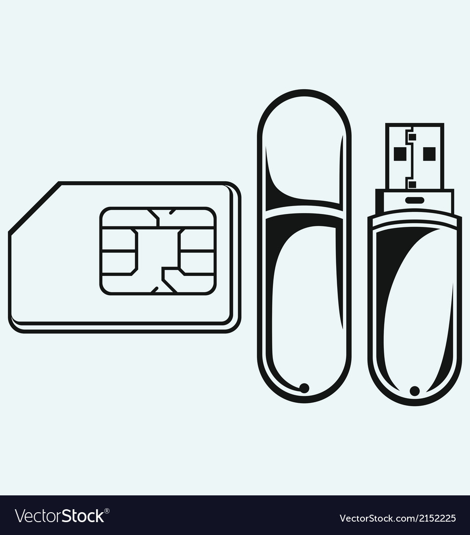 Usb flash memory and mobile phone sim vector | Price: 1 Credit (USD $1)