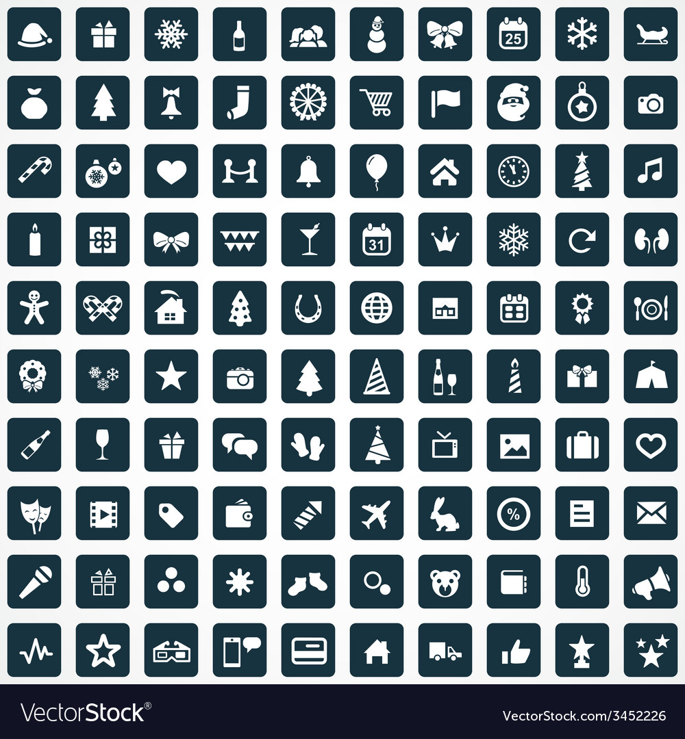 100 new year icons vector | Price: 1 Credit (USD $1)