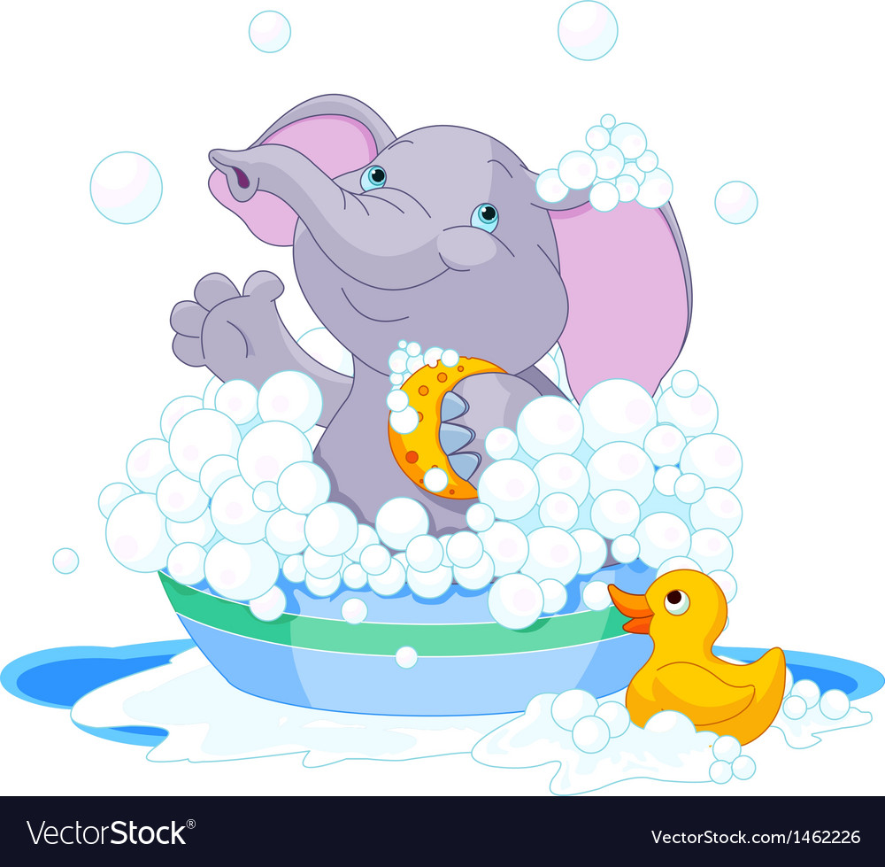 Elephant having a bath vector | Price: 3 Credit (USD $3)