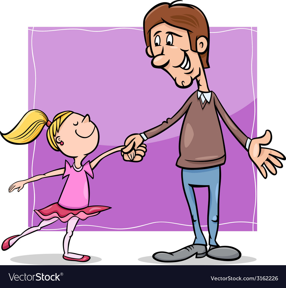 Father and daughter cartoon vector | Price: 1 Credit (USD $1)