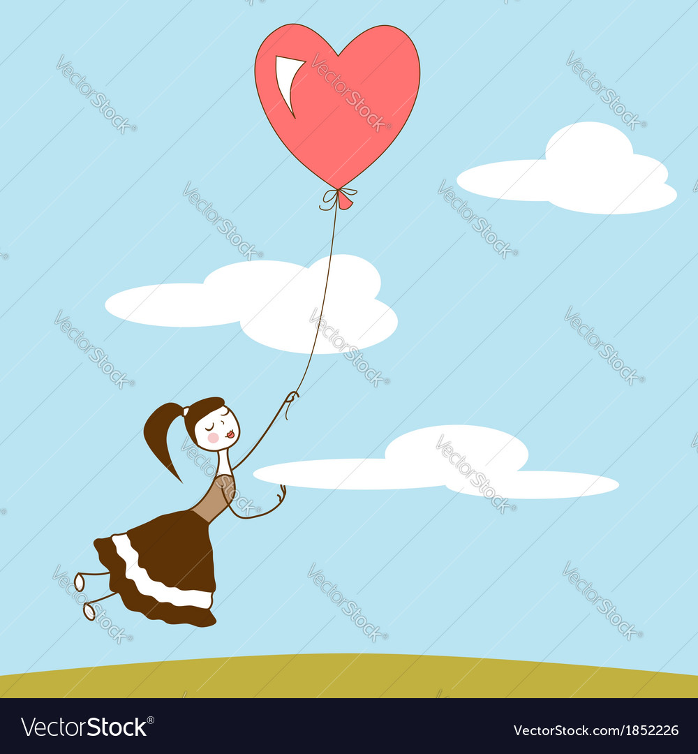 Girl holding the string of flying red balloon vector | Price: 1 Credit (USD $1)