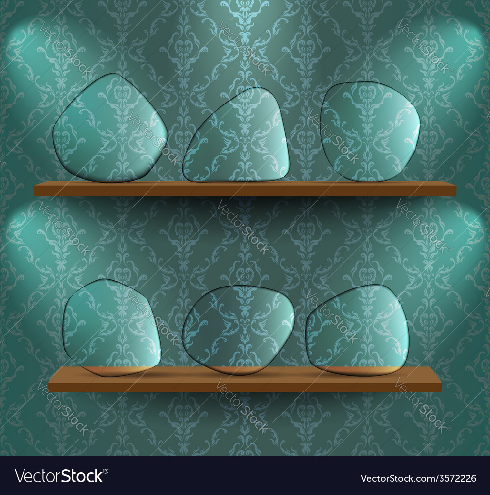 Glass plates on the shelves vector | Price: 1 Credit (USD $1)