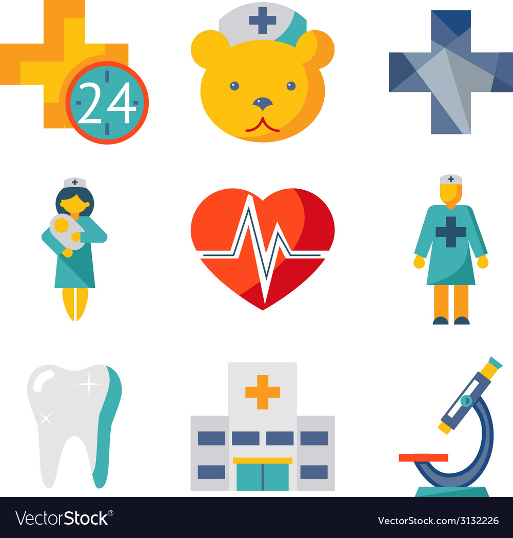 Medical care and health isolated modern trendy vector | Price: 1 Credit (USD $1)
