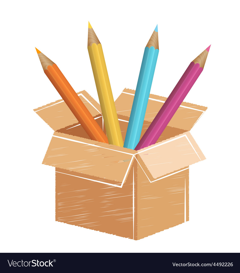Multicolored pencils with drawn card box isolated vector   Price: 1 Credit (USD $1)