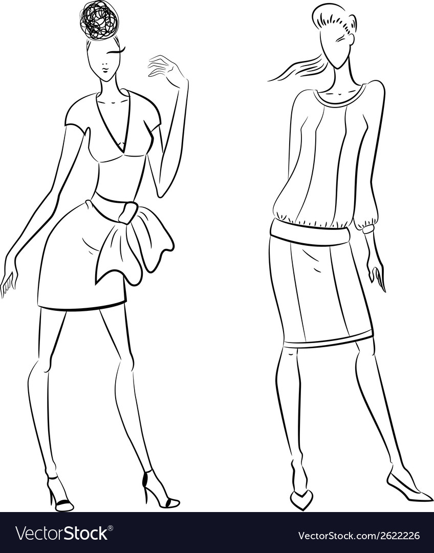 The sketch of women in different poses vector   Price: 1 Credit (USD $1)