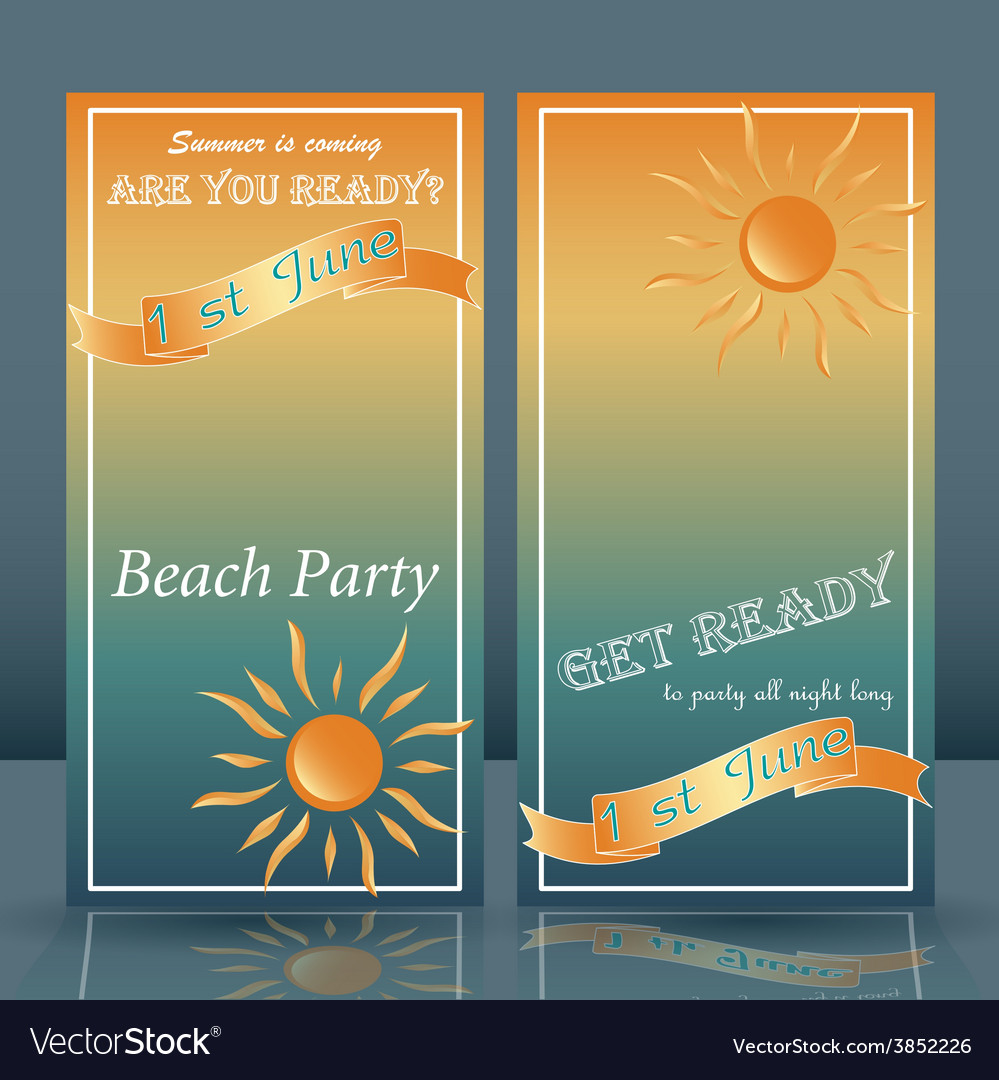 Summer time beach party flyer yellow and blue vector | Price: 1 Credit (USD $1)