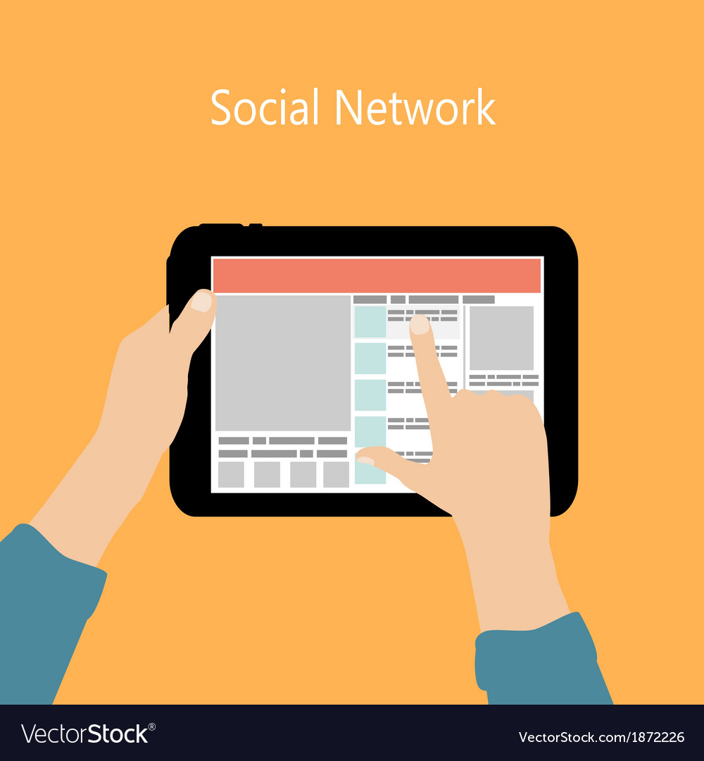 Using social network concept flat vector | Price: 1 Credit (USD $1)