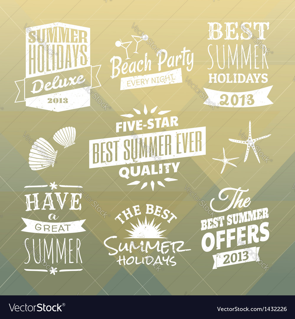 Vintage summer design elements collection vector | Price: 3 Credit (USD $3)