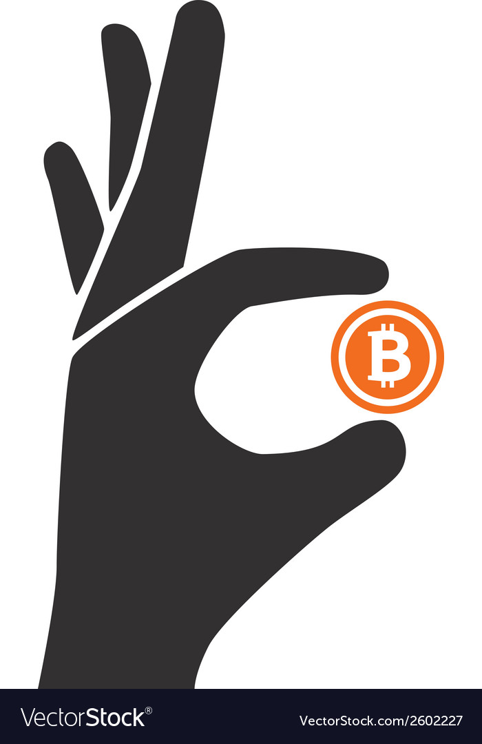 Bitcoin hold by hand vector | Price: 1 Credit (USD $1)
