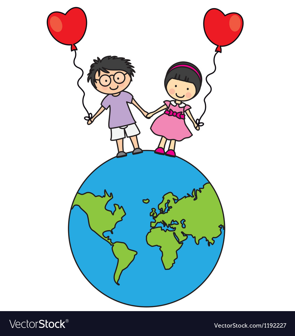 Children walking on the globe vector | Price: 1 Credit (USD $1)