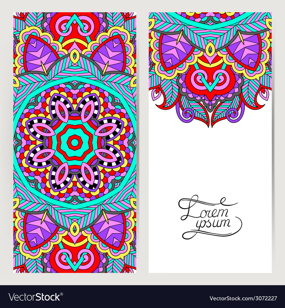 Decorative label card for vintage design ethnic vector | Price: 1 Credit (USD $1)