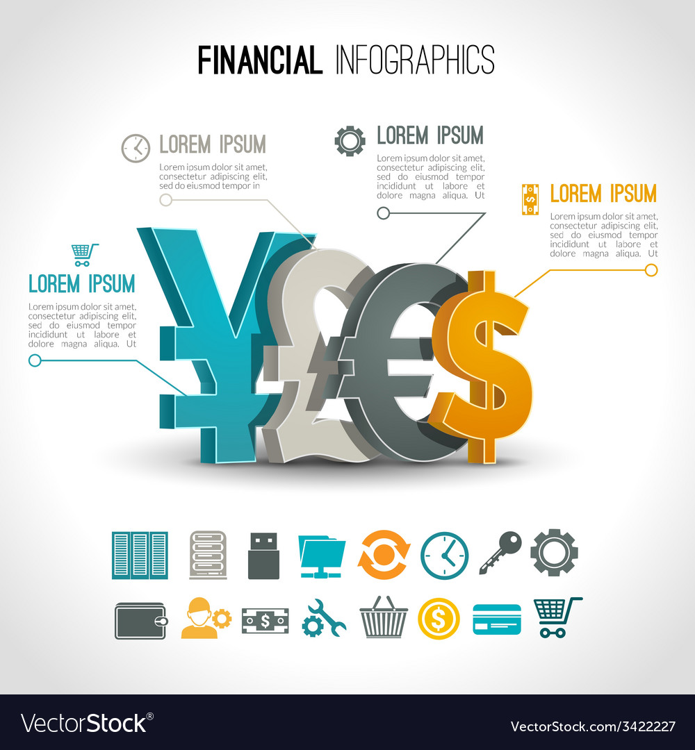 Financial infographic set vector | Price: 1 Credit (USD $1)