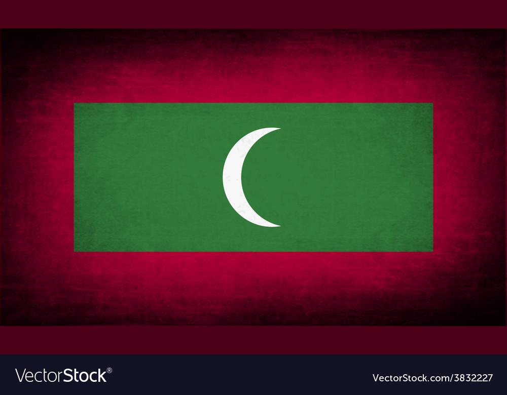 Flag of maldives with old texture vector | Price: 1 Credit (USD $1)