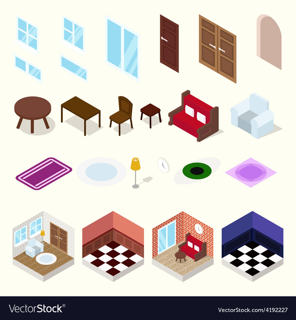 Isometric rooms with furniture vector | Price: 1 Credit (USD $1)