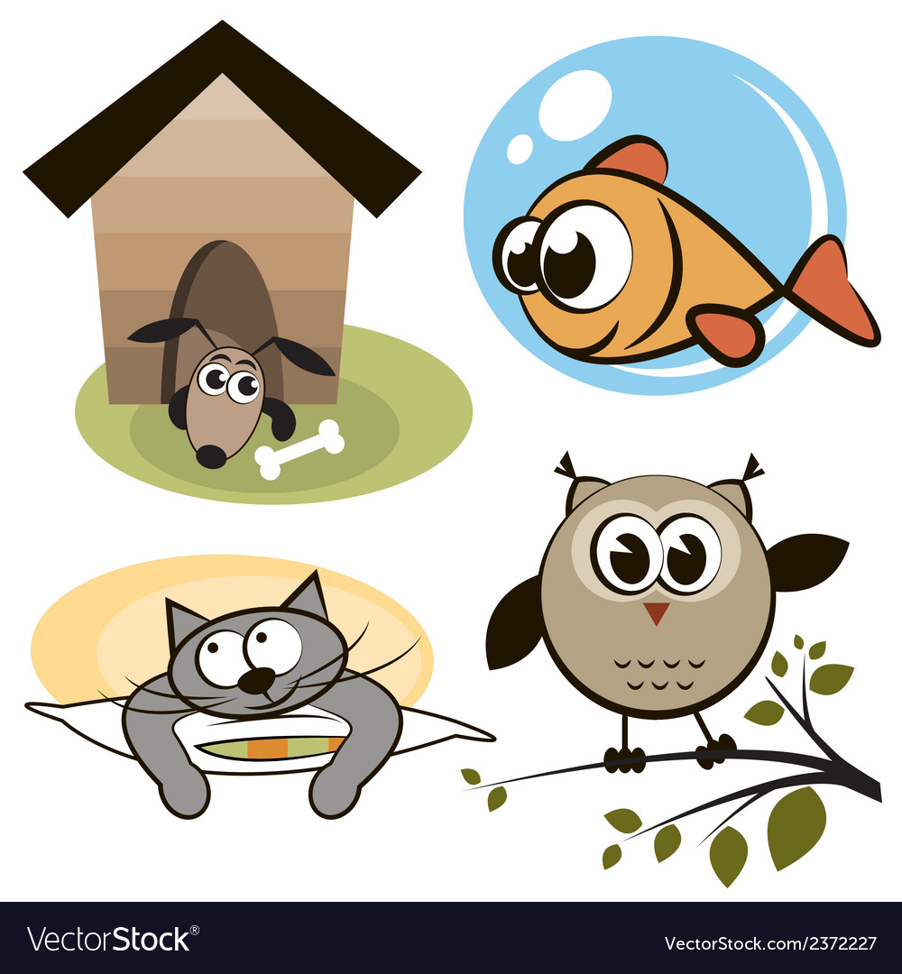 Owl fish cat and dog vector | Price: 1 Credit (USD $1)