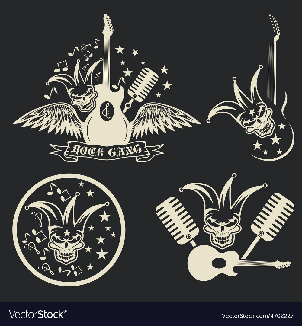 Rock gang set with jester skullwings and guitar vector | Price: 1 Credit (USD $1)
