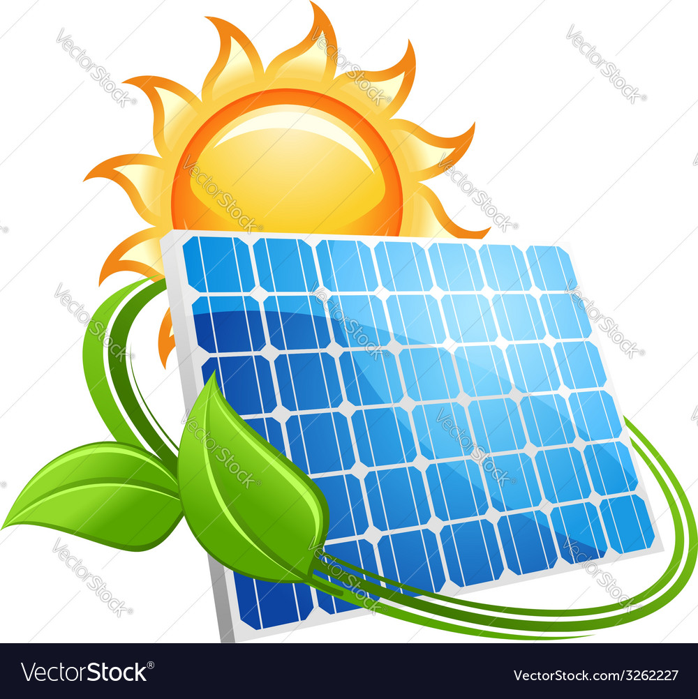 Solar panel and sun icon vector | Price: 1 Credit (USD $1)
