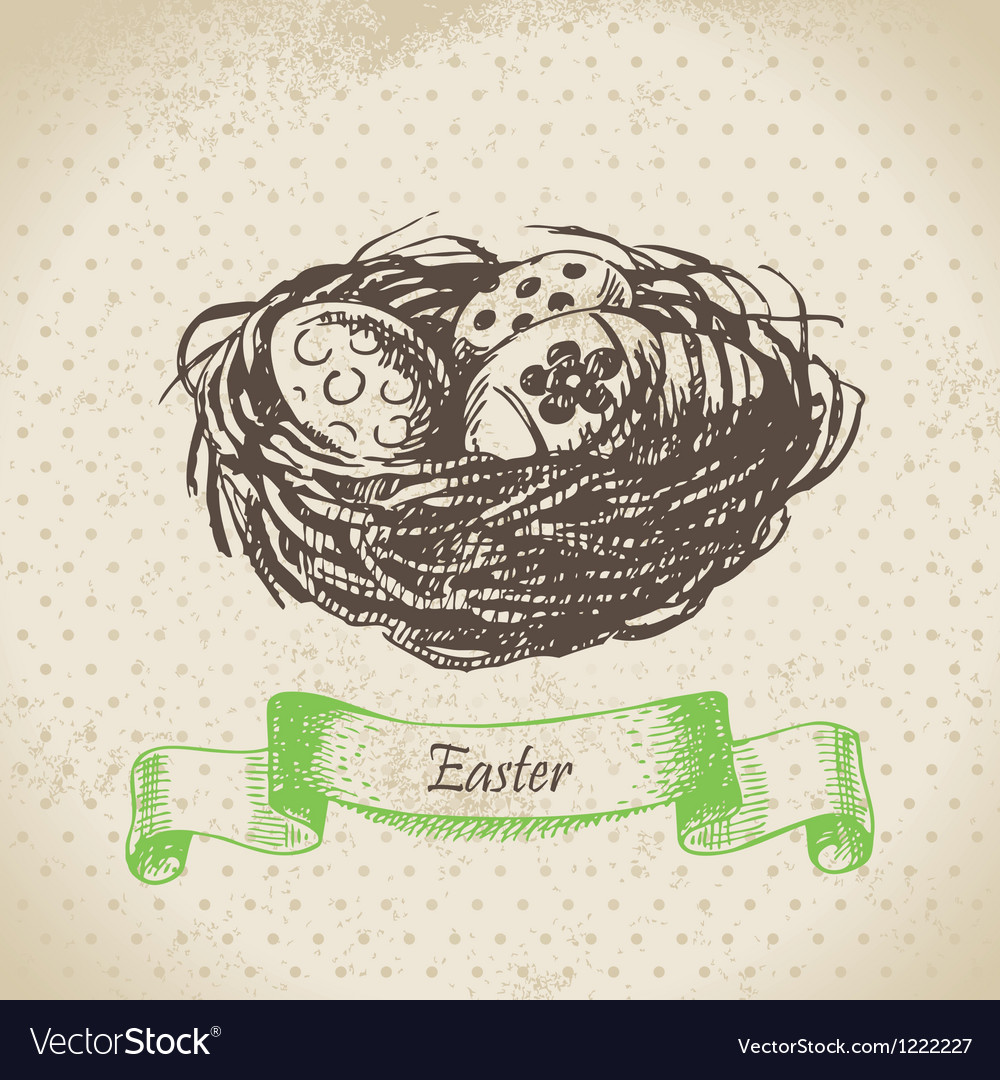 Vintage background with easter eggs and nest vector | Price: 1 Credit (USD $1)